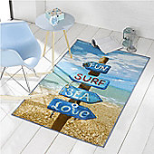 Surf, Sea, Fun Beach Sign Rug 100 x 160 cm