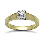 Jewelco London 18 Carat Yellow Gold 50pts Solitaire Diamond Ring