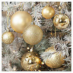 Christmas Baubles, Gold, 40 pack