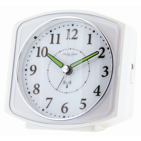 buy london clock company square case radio controlled alarm clock white from our clocks range. Black Bedroom Furniture Sets. Home Design Ideas