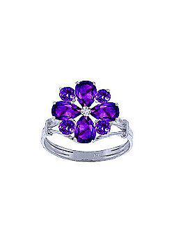 QP Jewellers 2.43ct Amethyst Rafflesia Ring in 14K White Gold - Size D 1/2