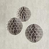 Set of 3 Grey Paper Honeycomb Decorations