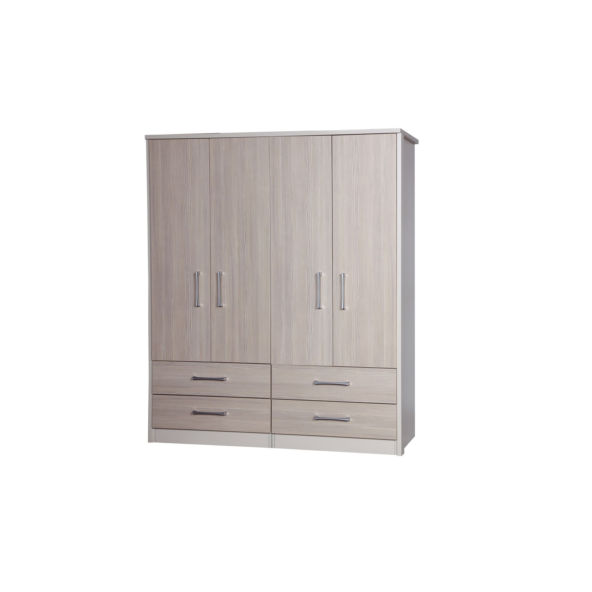 Alto Furniture Avola 4 Door Combi Wardrobe - Cream Carcass With Champagne Avola at Tesco Direct