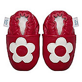 Dotty Fish Soft Leather Baby Shoe - Red and White Flower - Red