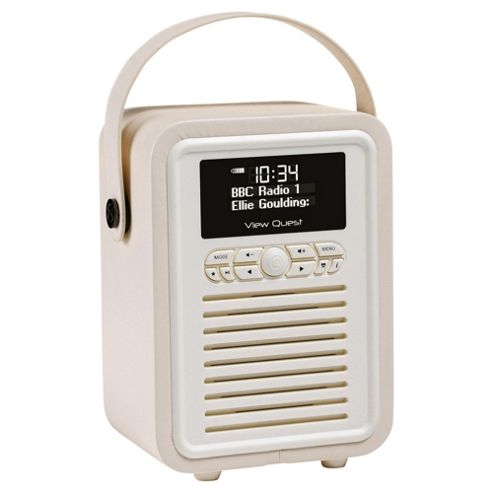 buy vq retro mini dab fm radio with bluetooth cream from our portable radio range tesco. Black Bedroom Furniture Sets. Home Design Ideas
