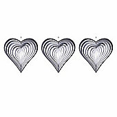 Set of Three Heart Shaped Steel Windspinners for the Garden
