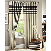 Curtina Harvard Eyelet Lined Curtains 66x72 inches (168x183cm) - Chocolate