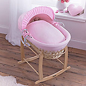 Clair de Lune Natural Wicker Moses Basket (Cotton Candy Pink)