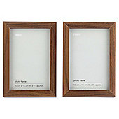 "Tesco Photo Frame Walnut Effect 2pk 4""x6"""