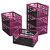 Tesco 32L Plastic Folding Crate, Pack of 6, Black/Pink