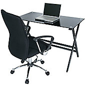 LEVV Black Glass Desk with Harvad Executive Chair Set