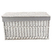 White Wicker Grey Striped Lined Trunk