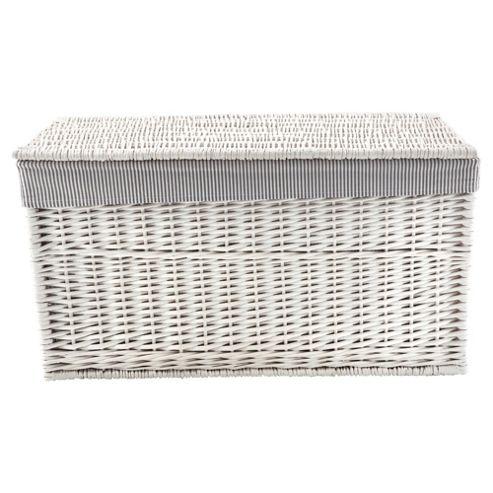 Tesco Wicker Trunk, Grey Stripe Fabric Lined, White