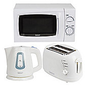 Igenix IGPK16 Kitchen Set Kettle 2 Slice Toaster and Microwave - White
