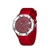 Tresor Paris Watch - ISL - Stainless Steel Bezel & Crystal Dial - Red Silicone Strap - 44mm