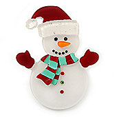 White/ Red Acrylic Crystal Christmas 'Snowmen' Brooch - 55mm Length