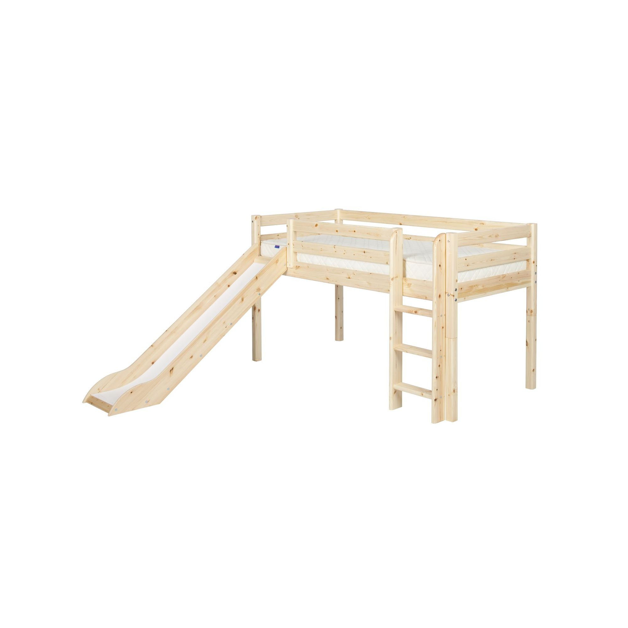 Flexa Classic Mid-High Bed with Straight Ladder and Slide - Natural Lacquer at Tesco Direct
