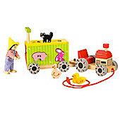 Bigjigs Toys BJ679 Pull Along Tractor and Trailer