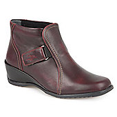 Fly Flot Leather Ankle Boot with One Touch Tabs - Burgundy