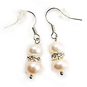 Small White Freshwater Pearl Crystal Drop Earrings (Silver Tone) - 3cm Length