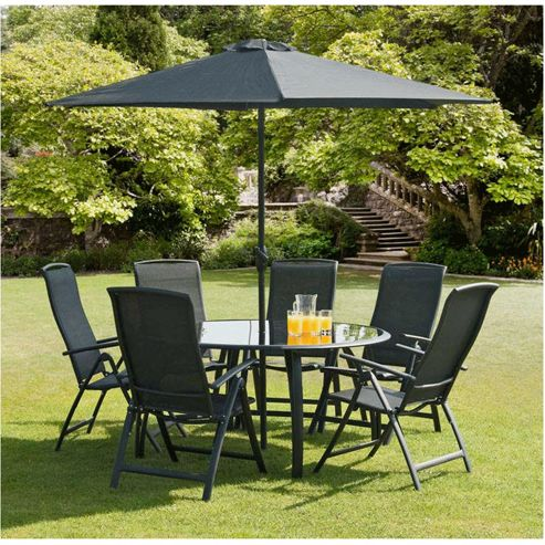 buy suntime havana black 6 seat outdoor round dining set from our