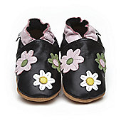 Cherry Kids Soft Leather Baby Shoes Little Flowers Black - 6-12 mths
