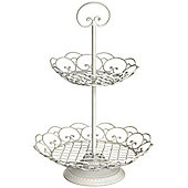 Swirl - 2 Tier Metal Cake Stand / Party Sandwich Plate - Cream