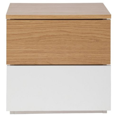 Palma 2 Drawer Bedside Table, Oak/White