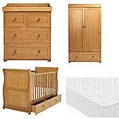 East Coast Langham Sleigh 4 Piece with Pocket Sprung Mattress Nursery Room Set