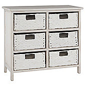 Pacific Lifestyle 6 Drawer Water Hyacinth Unit - White