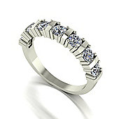 18ct White Gold 7 Stone Bar Set Moisanite Eternity Ring