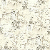 Navigator Vintage Map Neutral Wallpaper - Arthouse 622003