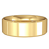 Jewelco London 9ct Yellow Gold - 7mm Essential Flat-Court Bevelled Band Commitment / Wedding Ring -