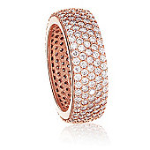 Rose gold plated wide stacking ring with cubic zirconia stones