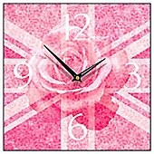 Smith & Taylor Union Jack Rose Square Wall Clock in Pink