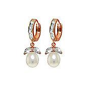 QP Jewellers Pearl & Aquamarine Dewdrop Huggie Earrings in 14K Rose Gold