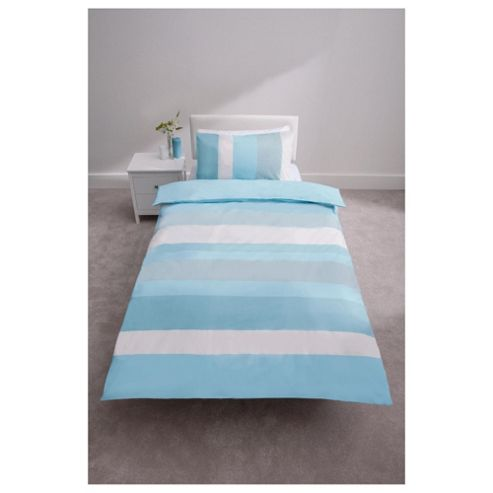 Tesco Stripe Duvet Cover Set Aqua Single