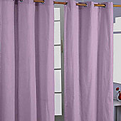 Homescapes Cotton Plain Mauve Ready Made Eyelet Curtain Pair, 137 x 182 cm