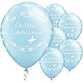 11' Communion Butterflies Pearl Light Blue (6pk)