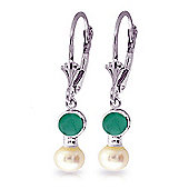 QP Jewellers Emerald & Pearl Dazzle Leverback Earrings in 14K White Gold