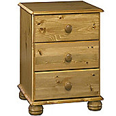 Kayleigh - Solid Wood 3 Drawer Bedside Table - Antique Pine