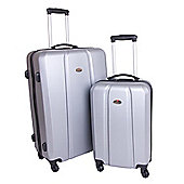 Swiss Case Hard Shell 4-Wheel Suitcase, Silver Set of 2