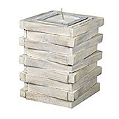 Parlane White Wood Stack Candle - 20cm x 10cm
