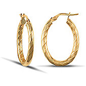 Jewelco London 9ct Yellow Gold 3mm oval shaped hoop Earrings with textured stripe design