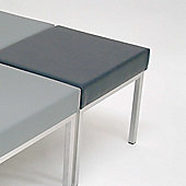 Energo Rectangular Stool with Silver Frame - Black Vinyl