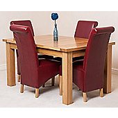 Seattle Solid Oak 150 cm Extending Dining Table with 4 Montana Leather Dining Chairs (Burgundy)
