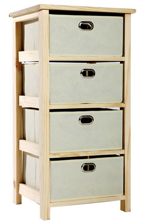 Looking To Purchase This Unit: Buy Natural Wood 4 Tier Storage Unit With Fabric Drawers