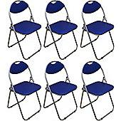 Pack of 6 Blue Padded Folding Office, Desk, Poker Chair.