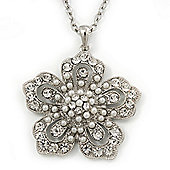 Long Crystal Pearl 'Flower' Pendant In Rhodium Plating - 74cm Length/ 10cm Extension