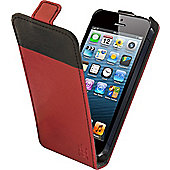 Tortoise™ Look Faux Leather Flip Case iPhone 5 Red/Black strip